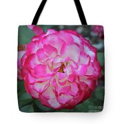 Pink And White Rose Square Tote Bag