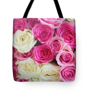 Pink And White Roses Bunch Tote Bag