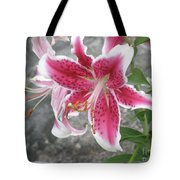 Pink And White Stargazer Lily In A Garden Tote Bag