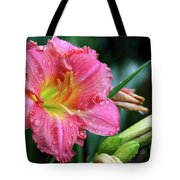 Pink And Yellow Lily After Rain Tote Bag