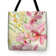 Pink And Yellow Orchids Tote Bag