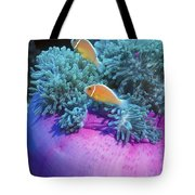 Pink Anemonefish Protect Their Purple Tote Bag by Michael Wood