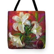 Pink Angel White Lilies Tote Bag