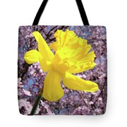 Pink Blossom Spring Trees Yellow Daffodil Flower Baslee Troutman Tote Bag