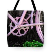 Pink Bycycle Resting On A Tree Tote Bag