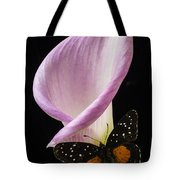 Pink Calla Lily With Butterfly Tote Bag