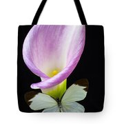 Pink Calla Lily With White Butterfly Tote Bag