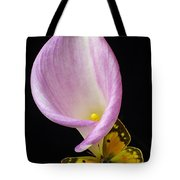Pink Calla Lily With Yellow Butterfly Tote Bag