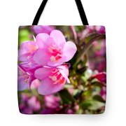 Pink Cardinal Bush Flowers Tote Bag