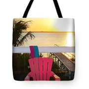 Pink Chair In The Keys Tote Bag