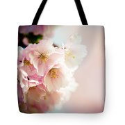 Pink Cherry Blossoms Closeup Tote Bag
