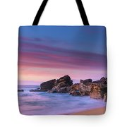 Pink Clouds And Rocky Headland Seascape Tote Bag
