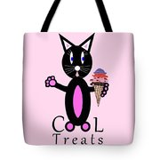 Pink Cool Treats - Cat Typography Tote Bag