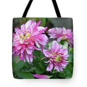 Pink Dahlia Flowers Tote Bag