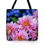 Pink Dahlias On Lobelia Tote Bag