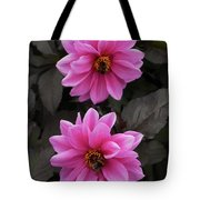 Pink Dahlias With Bees Tote Bag