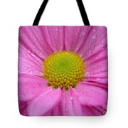 Pink Daisy With Raindrops Tote Bag