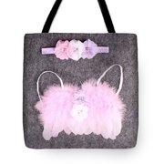 Pink Feather Angel Wings With White-violet Flowers And Headband Tote Bag