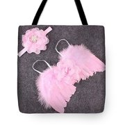 Pink Feather Baby Girl Angel Wings With Flower Lace Headband Tote Bag