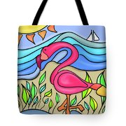 Pink Flamingo Glassy Tote Bag