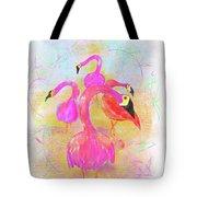 Pink Flamingos In The Park Tote Bag