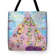 Pink Flower Angel Tote Bag