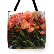 Pink Flowers At The Market Tote Bag