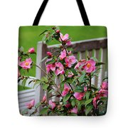 Pink Flowers By The Bench Tote Bag