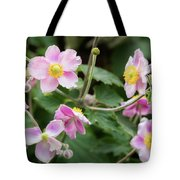 Pink Flowers Over Green Tote Bag