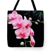 Pink Flowers Pink Vein Black Background Tote Bag