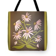 Pink Flowers With Brown Background Tote Bag