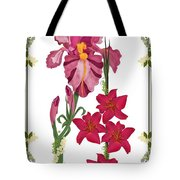 Pink Flowers With Willow Borders Tote Bag
