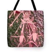 Pink Fuschia Against Tree Bark Tote Bag
