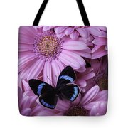 Pink Gerbera Daises And Butterfly Tote Bag