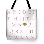 Pink Gold Abc Alphabet Heart Sampler Print Tote Bag
