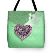 Pink Heart On Frosted Glass Tote Bag