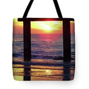 Pink Heart Sun Flare Clearwater Sunset Tote Bag