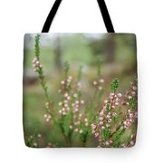 Pink Heather, Calluna Vulgaris, In Foggy Forest Tote Bag