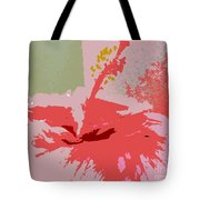 Pink Hibiscus Abstract Tote Bag