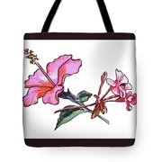Pink Hibiscus And Geranium  Tote Bag