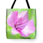 Pink Hollyhock Flower Tote Bag