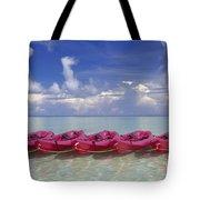 Pink Kayaks Lined Up Tote Bag