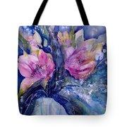 Pink Lilies In Vase Tote Bag