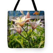 Pink Lily By The Lake Tote Bag