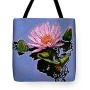 Pink Lily With Dancing Reflections Tote Bag