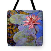 Pink Lily With Silver Pads Tote Bag