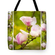 Pink Magnolia Triptych Tote Bag