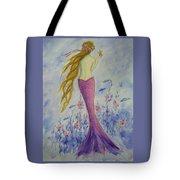 Pink Mermaid In Her Garden Tote Bag