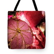 Pink Ornaments Holiday Card Tote Bag