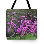 Pink Painted Bikes And Old Wall Tote Bag